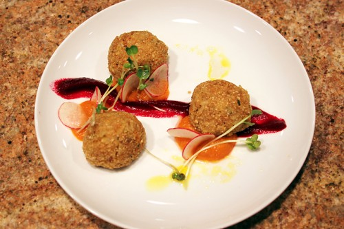 Chicken & Brown Rice Arancini: Amish chicken, parsnips, carrots, brown rice, old-fashioned oats, Italian parsley