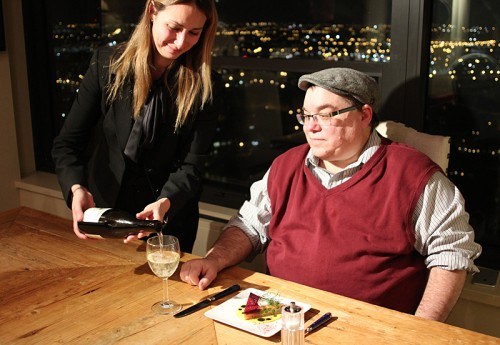 Chef John's wife Karen pours my 2014 J.Christopher Williamette Valley