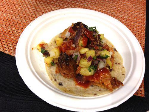 Moxxie's brisket-bacon pastor taco.