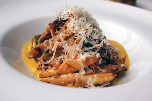 Fettucine with CDK Farms beef cheeks, grana padano, butternut squash, brown butter, fried garlic