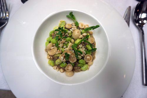 Barley porridge with edamame and shimeji mushrooms