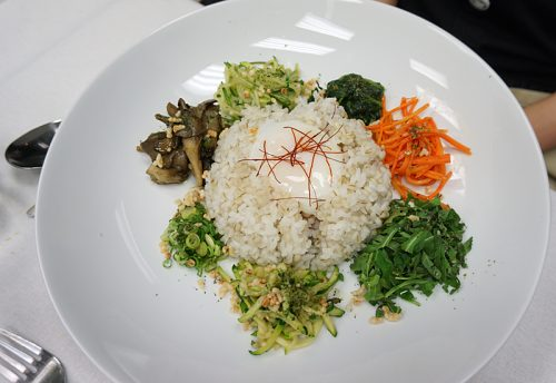 Sousvide egg and rice with marinated vegetables (vegetarian supplement to dinner menu)