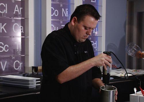 Homaro Cantu in the kitchen at Moto