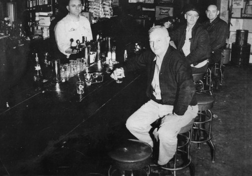 Chester behind the bar, 1950s.