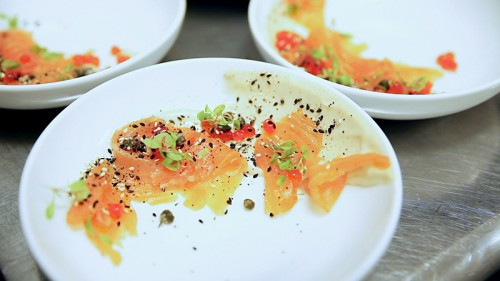 The breakfast for dinner course: everything bagel, cured salmon, cream cheese spuma, capers. Can't you tell?