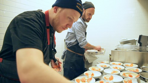 Dan Salls and Drew Marquardt plating the everything bagel course