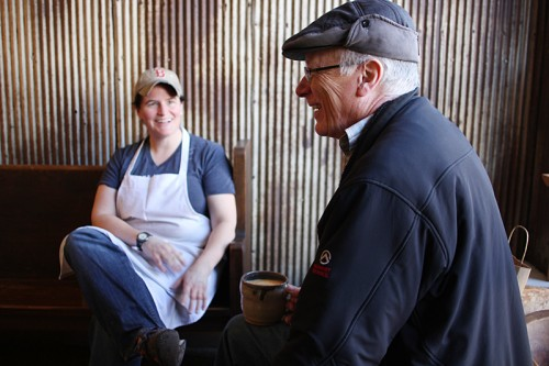 Hewn owner Ellen King, chatting with a regular