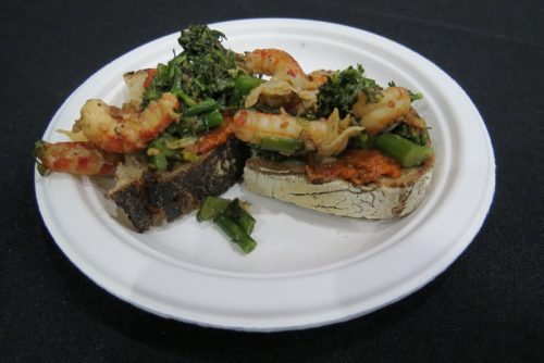 The Radler's crayfish and broccoli rabe on bacon-lard pumpernickel with bacon-tomato jam.