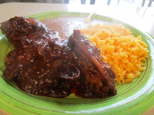 Pollo with mole rojo...
