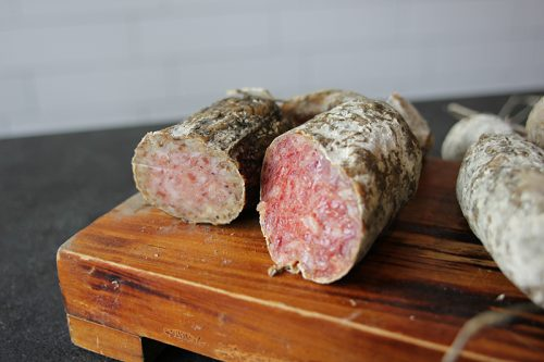 A couple of other salamis, one made with Veuve Cliquot