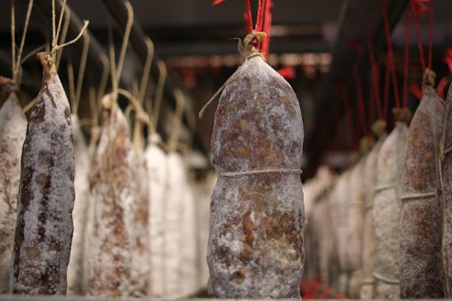 In the second chamber, dry sausages continue to age and develop flavor