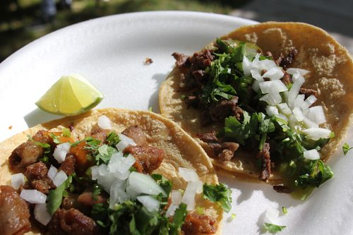 Tripas and carne asada, with cilantro and onion