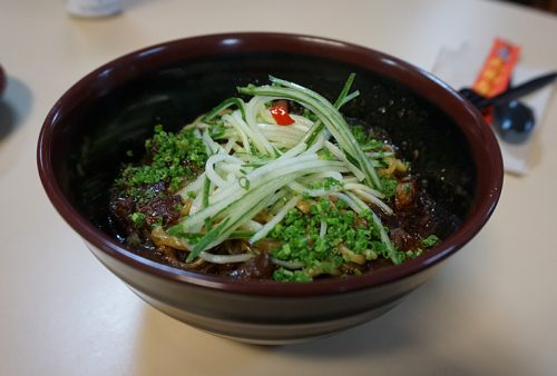 Jjajangmyun: black bean noodles, with pork belly and lime (lunch menu)