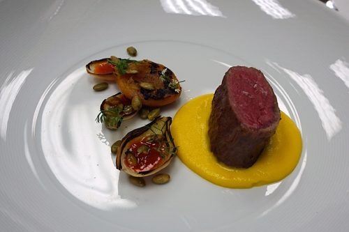 Venison with kabocha squash puree and sunchokes