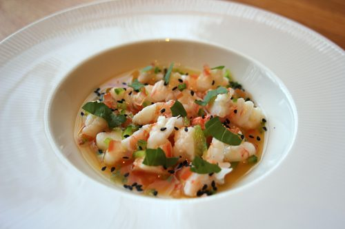 Poached shrimp ceviche with carrot puree, young coconut broth, basil, jalapeño, toasted black sesame seeds