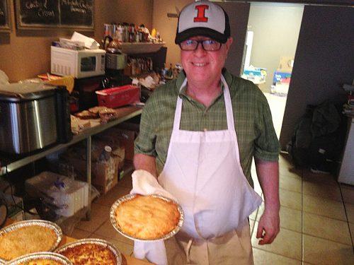 Chris Monroe, with pie