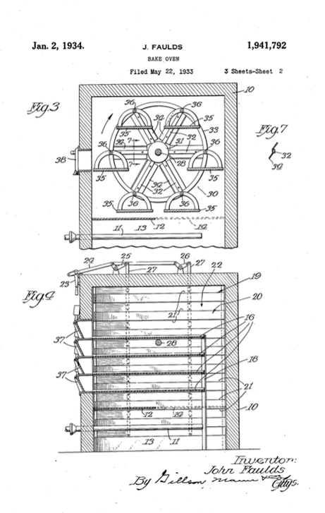 A 1934 patent document showing John Faulds' rotating shelves