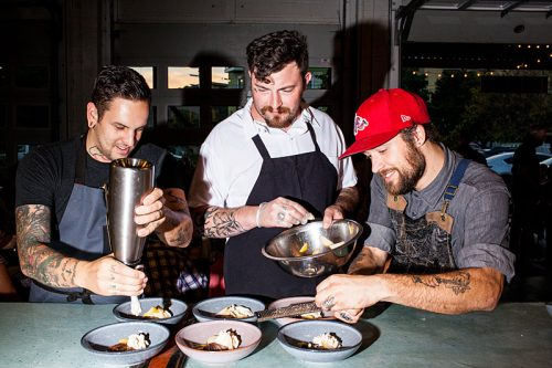 Chefs Kyle Paton (left) and Jonathan Brooks (center)