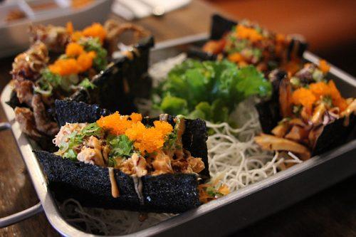 "Assortment of seafood ""tacos"""