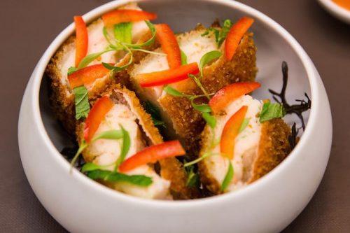 Shrimp toast at Intro, dim sum menu