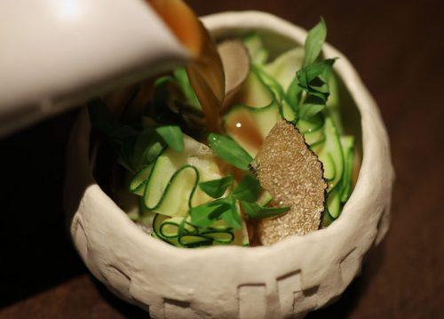 Matsutake Custard with Foie Gras, Zucchini and Black Truffle